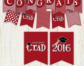 CONGRATS Graduation Banner Burgundy - digital - 2016