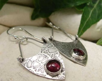Silver Boho Earrings, Sterling Silver Gemstone Earrings, Red Garnet Dangle Earrings, Hand Forged Artisan Jewelry, Rustic Oxidized Earrings