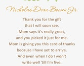 Elephant Turtle Baby Shower Thank You Card - You Print - 4x6 or 5x7