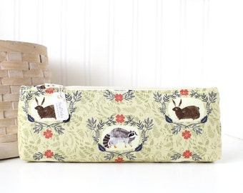 Light Green Woodland Pencil Case Green Pencil Pouch Bunnies Raccoon Purse Organizer