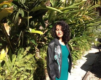 Palms Painted Leather Bomber Jacket by Nico Mazza Medium Black Plants Upcycled