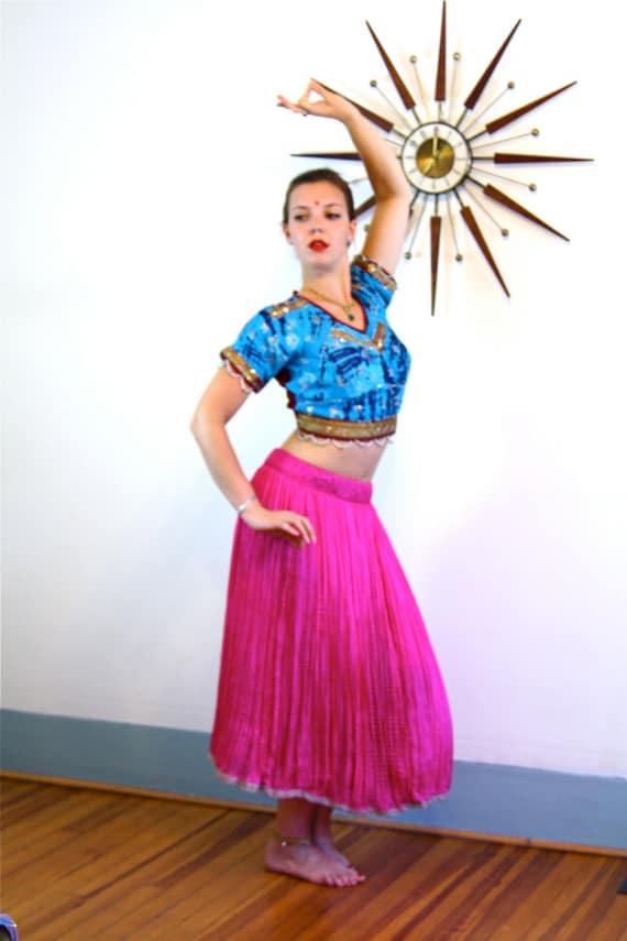 Vintage Indian skirt, Belly Dance Skirt, Silk Gypsy Skirt, Pink Silk Skirt, Ethnic skirt, made in India, hot pink skirt, long full skirt
