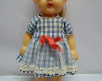 "Vintage  8 1/2"" Soft Rubber Doll Blue and White Gingham Dress Japan"