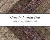 Natural Gray Industrial Felt Sample Bags Value Pack