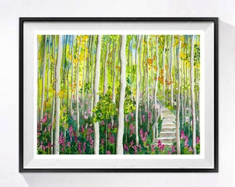Watercolor Tree PRINT birch Forest Art, Watercolor painting watercolour landscape of the woods, Green Spring painting countryside artwork