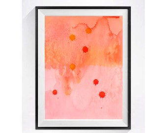 Modern Abstract Wall Art Prints Abstract painting Orange watercolor painting Geometric Abstract illustration pink LaBerge A