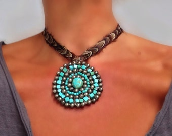 Large Turquoise Pendant - Huge Native American Inspired Western Pendant Necklace Wire Wrapped by Sharona Nissan