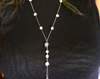SALE OOAK handmade pearl beaded rosary necklace with silver rose skull and cross