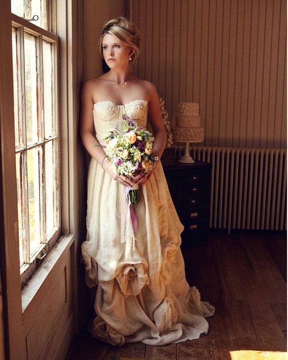 Dana Organic Linen and Vintage Lace Wedding Dress