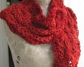 Scarf for women-- RED---Handknitted--flowers--Soft and cozy-100percent Cotton--shawl
