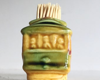 Mid Century Ceramic Souvenir San Francisco Trolly Car Toothpick Holder