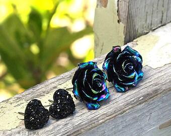 Oil Slick Black Rose and Black Glitter Faux Druzy Heart Stud Earrings - 2 Pair Set on Titanium Posts