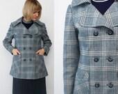 70s plaid coat. pastel pea coat. short wool coat - medium to large
