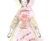 Small Flat Fancy Flower Lady Doll Ornament Handmade Modern Vintage Look Fabric Doll Decoration Embellished Art Doll Ornament