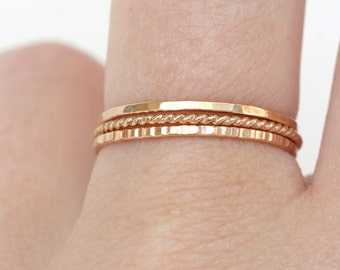 Set of 3 - Skinny Stack Rings - 14kt gold fill - Light weight ring - simple band- 3 texture set - 3 different gold rings, twist ring,