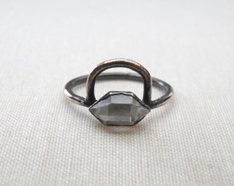 Herkimer orbit ring - Quartz Crystal Ring - Copper and Herkimer Ring - Stacking Crystal Ring - quartz cocktail ring