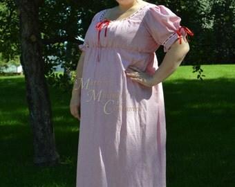Jane Austen Regency Day Round Gown Dress in white red stripe cotton