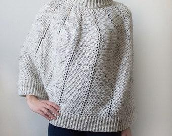 Vertical Eyelet Poncho - 9 Sizes - PDF Crochet Pattern - Instant Download