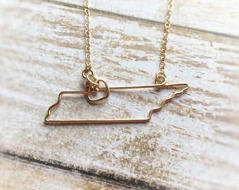 Tennessee Necklace - Tennessee State Necklace - Home State Necklace - State Jewelry - State Necklaces - Silver or Gold - Gift for Her