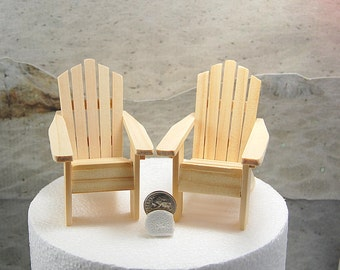 "2 Adirondack Chairs Unfinished Small For 5"" Beach Wedding Cake Top Artisan Handmade To Order"