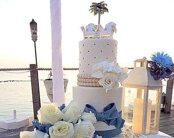 Beach Beverage Wedding Cake Topper Custom Colors Handmade To Order Artisan Palm Tree, Adirondack Chairs, Flip Flops And More