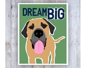 Bull Mastiff Art, Dog Decor, Dog Quote, Large Dogs, Big Dogs, Dog Lover Gift, Dog Pictures, Inspirational Quote, Classroom Art, Dog Home