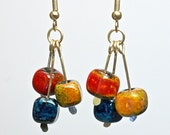 Colorful enamel cube dangle earrings, bright enamel on lampwork glass geometric drop earrings by paulbead, cheerful earrings gifts for her