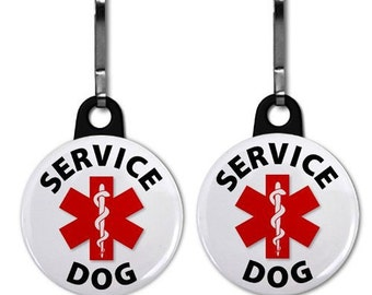SERVICE DOG Medical Alert 2-Pack of Zipper Pull Charms (Choose Size and Backing Color)