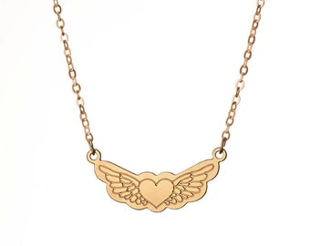 Wings Necklace,Gold Heart and Wings Tattoo Necklace,Gold Heart Tattoo Necklace,Gold Wings Tattoo Necklace