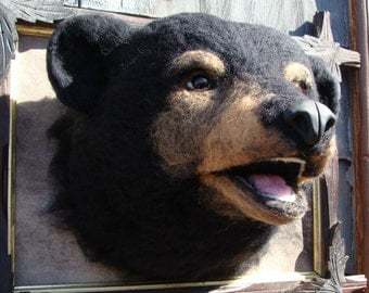 Needle Felted One of a kind Wool Faux Taxidermy Black Bear Soft Sculpture by Bella McBride of McBride House