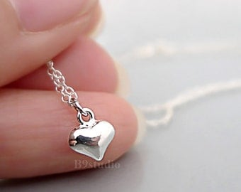 Tiny heart necklace, love necklace, holidays gift, sterling silver little puff heart, dainty small charm, minimalist, everyday jewelry