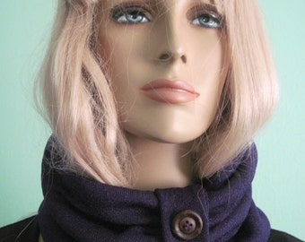 Purple Circle Loop Scarf Wood Button Trim Winter Fall Womens Fashion