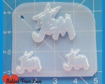 SALE 3 Cavity 80s JEM words Handmade  Layered  Plastic Resin Mold