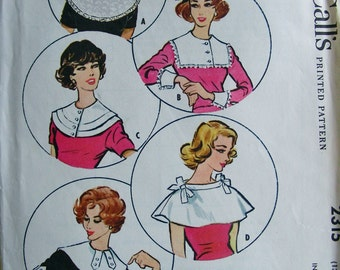 UNCUT 1950s  McCall's Pattern 2315 -  Big Platter and Puritan Collars with Two Pairs of Cuffs * One Size
