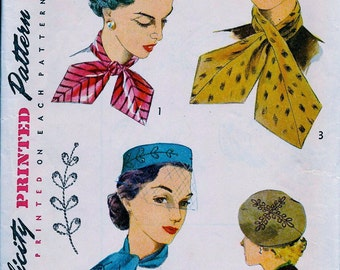 "Hat Pattern * 1950's Simplicity  Pattern 4067  * Misses'  Accessory Set Including Hats & Scarf w/Transfers  * Head Size 22"" * FF"