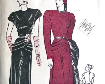 Vintage 1940s Butterick Pattern 3978 - Misses'  Gorgeous Dress w/ Draped Hipline  * Size 14 * Bust 32 * FACTORY FOLDED