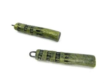 SALE Stumpy Totem Pole Earring Bead Pair - Ceramic Craft Beads Artisan Clay Beads No. 164