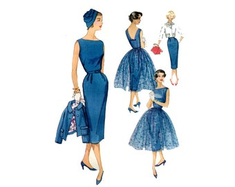 1950s Dress, Jacket and Overskirt Pattern Easy Sheath Dress Switchabout Day to Evening Simplicity 2370 Bust 33 Vintage Sewing Pattern