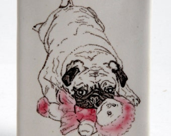 White and Pink Stoneware Sweet Baby Fawn Pug Vase Pencil Holder