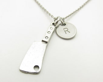 Cleaver Necklace, Knife Necklace, Chef Necklace, Personalized, Monogram, Initial Necklace, Antique Silver Cleaver, Kitchen Tool Charm Y417