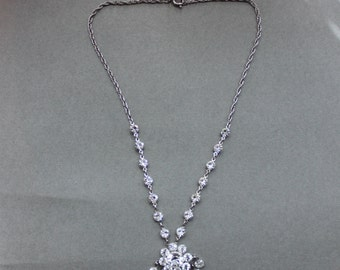 Antique Open Back Paste Florette Necklace / Gatsby Wedding