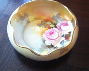 Nippon Vintage Hand Painted Ruffled Bowl, Pink Rose Bowls, Nippon Candy Dishes, Flowered Bowls, Vintage Morimura Brothers Nippon. USA ONLY