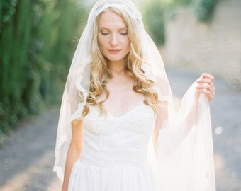 Juliet Cap Wedding Veil, Corded French Lace Veil, Cathedral Juliet cap Bridal Veil, Lace Wedding Veil - Style 511