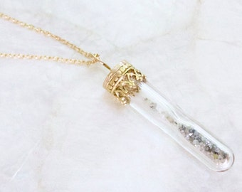 Sands of Time Hourglass Shake Necklace Solid 14k Yellow Gold and Raw Rough Uncut Diamonds - Eco Friendly Recycled Gold - Ready to Ship