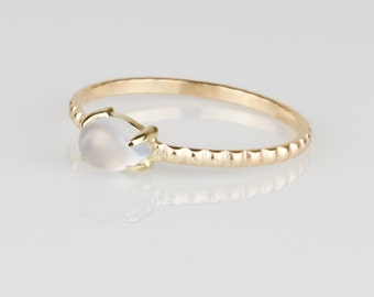 Artemis Teardrop Claw Set Gold Ring with Beaded Band - Solid 14k Gold Pear Blue Chalcedony Stack Ring - Solid 14k Yellow Gold Stacking Ring