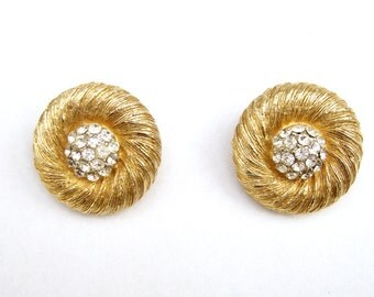 Signed Kramer Vintage Clear Rhinestone Gold Tone Clip on Earrings 24 mm