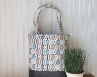 Tote Bag, Faux Leather Handbag, Canvas Tote Bag, Shoulder Bag, Purse, Vegan Leather Tote Bag, Geometric Tote Bag, Gift Idea for Her, OOAK