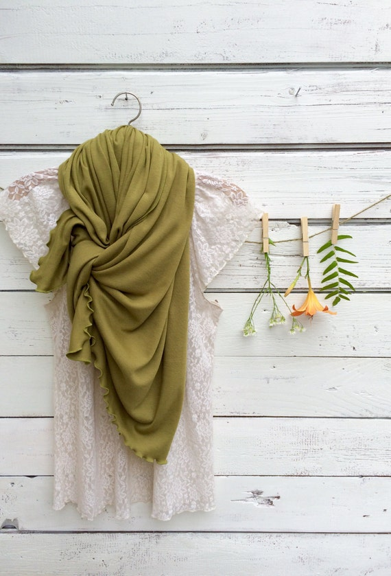 Moss Green Scarf, Jersey Scarf, Long Scarf, Forest Green Scarf, Wrap, Shawl, Oversized Scarf, Fall Scarf, Winter Scarf, Gift for Her