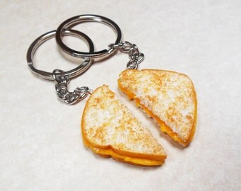 Grilled Cheese Sandwich Halves Bff Friendship Key Chain Set, Polymer Clay, Miniature Food, Food Jewelry, Food Art