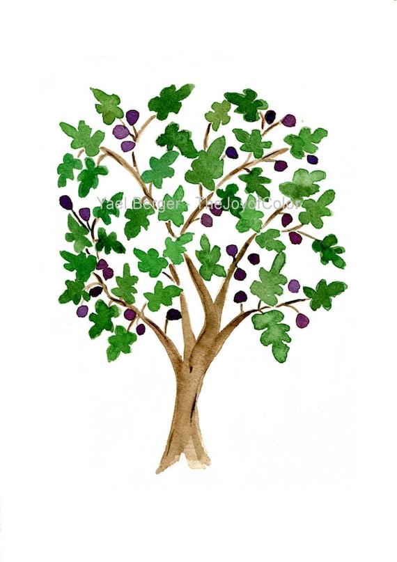 Fig Tree Art Print Watercolor Print Fig Tree Folk By